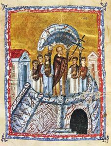 Воздвижение Честного и Животворящего Креста Господня. Византийская миниатюра 12 века.